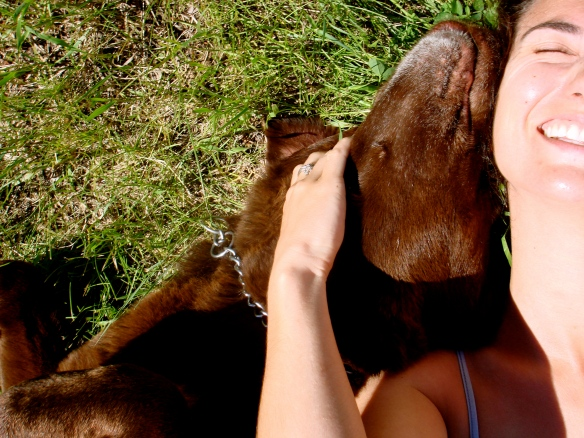 Me and the dog in the grass