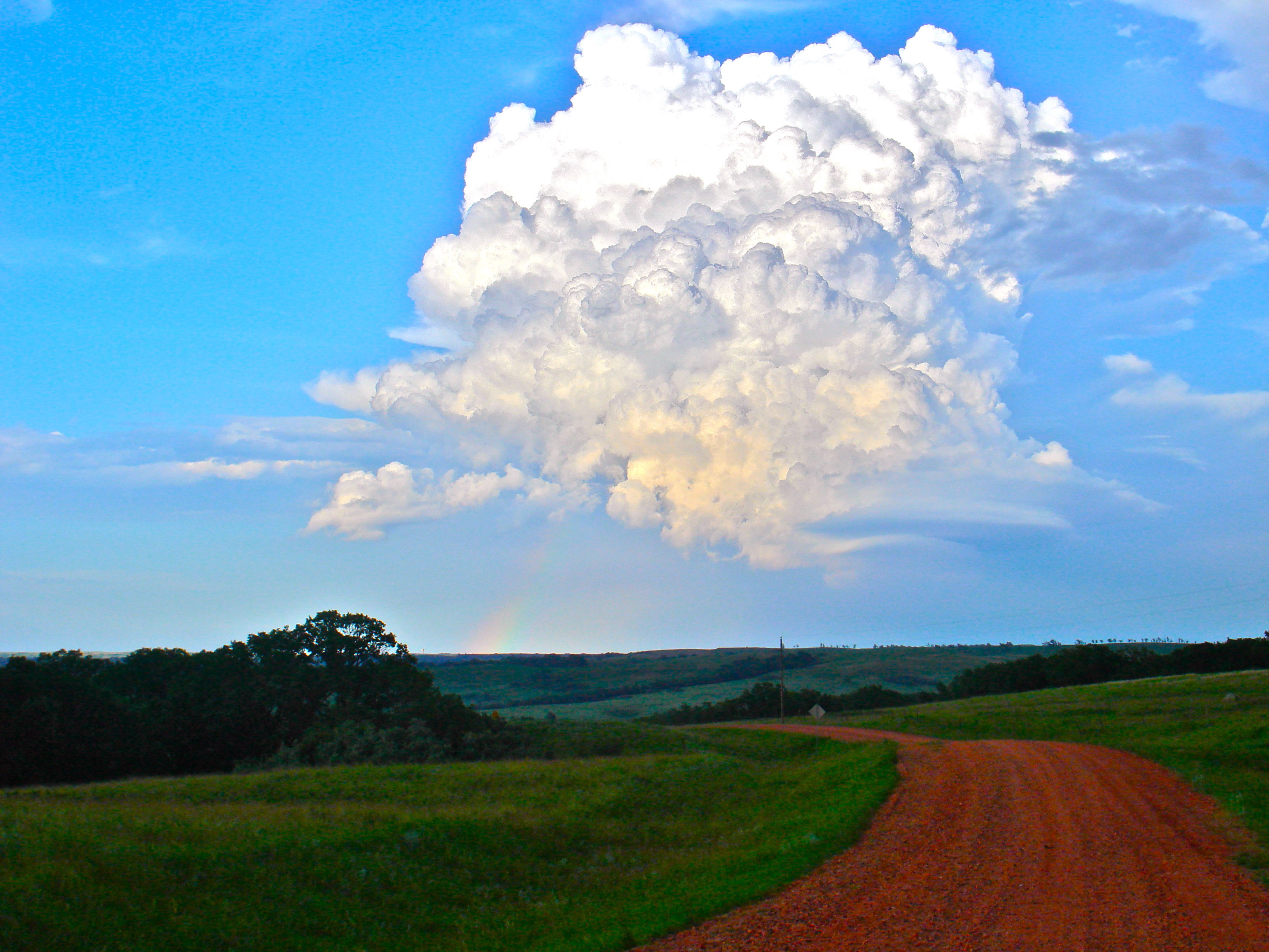 Storm cloud and rainbow
