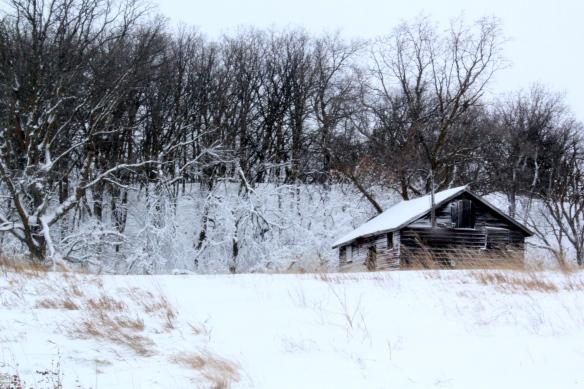 Old shack in winter