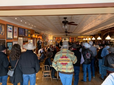 The morning gathering of entertainers at the Western Folklife Center